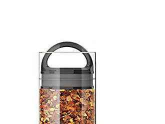 Prepara Best PREMIUM Airtight Storage Container for Coffee Beans, Tea and Dry Goods - EVAK - Innovation that Works by Prepara, Glass and Stainless, Black Gloss Handle, Mini