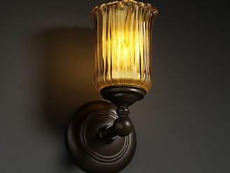 Justice Design GLA-8521 - Tradition 1 Light Wall Sconce - Cylinder with Rippled Rim Shade - Dark Bronze with Amber Glass Amber - GLA-8521-16-AMBR-DBRZ