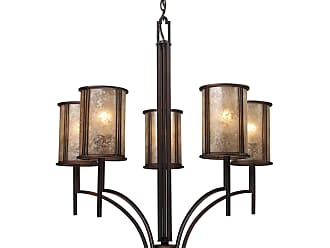 Elk Lighting 15035/5 Barringer 5-Light Chandelier In Aged Bronze And Tan Mica Shades