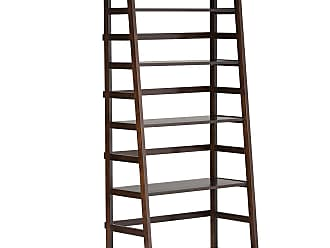 Simpli Home Acadian Solid Wood Ladder Shelf Bookcase in Tobacco Brown