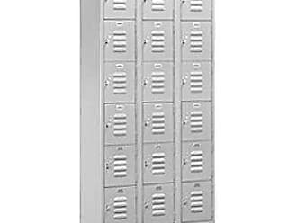 Salsbury Industries Assembled 6-Tier Box Style Standard Metal Locker with Three Wide Storage Units, 6-Feet High by 18-Inch Deep, Gray