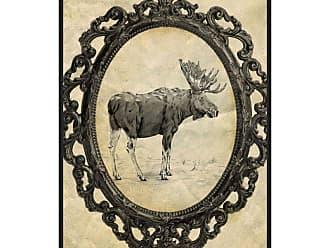 Ptm Images Framed Moose Framed Canvas Wall Art Beige / Black - 9-115622