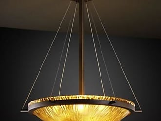 Justice Design GLA-9692-35-AMBR - Ring 27 in. Pendant - Round Bowl Shade with Amber Glass