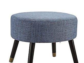 Convenience Concepts Designs4Comfort Blue Fabric Mid Century Ottoman Stool