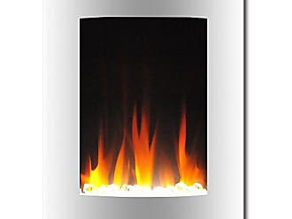 Cambridge Silversmiths CAM19VWMEF-1WHT 19.5 In. Vertical Electric Fireplace in White with Multi-Color Flame and Crystal Display