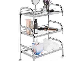 Best Choice Products 3-Tier Portable Rolling Bathroom Spa Storage Trolley Cart w/ Glass Shelves
