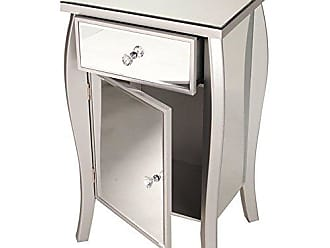 Heather Ann Creations Bombe Style Single Drawer Accent Cabinet/Console with Full Mirrored Finish, 30.5 x 18.75, Silver
