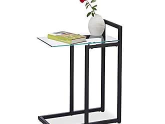 /Ø 40/&50 cm Design Decorativo Gambe in bamb/ù 45.00 x 50.00 x 50.00 cm Bianco//Blu Superficie di Vetro relaxdays Set di 2 Tavolini Modulari