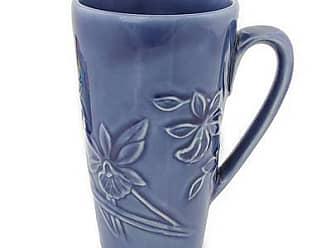 Novica Celadon ceramic mug, Royal Blue Orchid