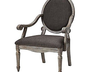 Madison Park FPF18-0107 Brentwood Accent Chairs-Birch Hardwood, Hand Carved Scroll Design Living Armchair Modern Classic Style Family Room Sofa Furniture Bedroom Lounge, Medium, Grey