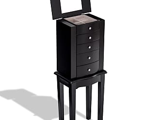 Costway Wood Mirrored Jewelry Storage Chest Cabinet