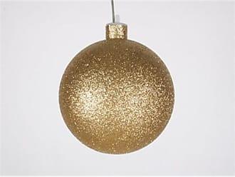 Queens of Christmas WL-ORN-BLKG-100-GO-W WL-ORN-BLKG-100-GO-W - 100mm Glitter Gold ball ornament w/wire