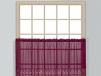 United Curtain Valerie Lace Sheer Kitchen Tiers, 52 by 24-Inch, Burgundy, Set of 2