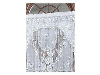Heritage Lace Victorian Rose 36-Inch Wide by 11-Inch Drop Insert Valance, White