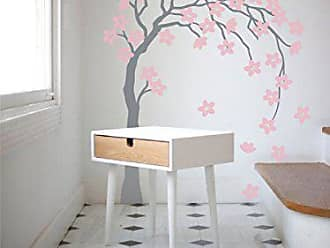 The Decal Guru Small Flower Tree Blowing in The Wind Wall Decal | Cherry BlossomVinyl Sticker Nature Home Decor (Black & Light Green, 27x50 inches)