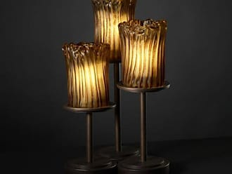 Justice Design GLA-8797 - Dakota 3 Light Table Lamp - Cylinder with Rippled Rim Shade and Amber Glass Brushed Nickel - GLA-8797-16-AMBR-NCKL