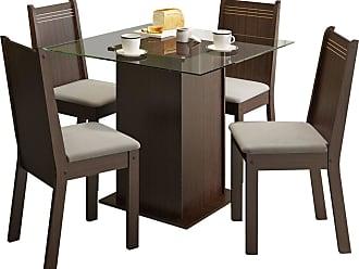 Madesa Sala De Jantar Madesa Base De Madeira Com Tampo De Vidro E 4 Cadeiras Lucy - Tabaco E Pérola