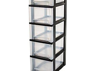 Aufbewahrung f/ür Schreibtisch IRIS Schubladenbox // Tischschubladenbox // B/ürobox Super Clear Chest schwarz // transparent Kunststoff SCC-300