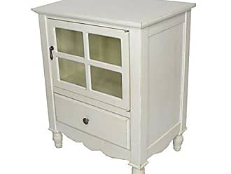 Heather Ann Creations The Vivian Collection Contemporary Living Room Wooden Single Door Single Drawer Accent Cabinet with 4-Paned Glass Inserts, Antique White