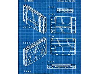 Inked and Screened SP_VIDG_343,833_BG_17_W Super Nintendo Cartridge Silk Screen Print, 11 x 17 Blue Grid - White Ink