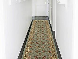 Ottomanson Otto Home Collection Persian Style Oriental Modern Design Runner Rug Hallway Runner, 31 L x 120 W, Sage Green/Aqua Blue
