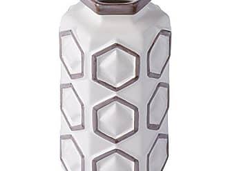 Varaluz Casa 414A02WHGR Large Hex Ceramic Vase - White with Gray
