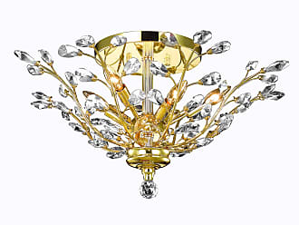 Elegant Lighting 2011 Orchid Collection Flush Mount D27in H12in Lt:6 Gold Finish (Royal Cut Crystals)