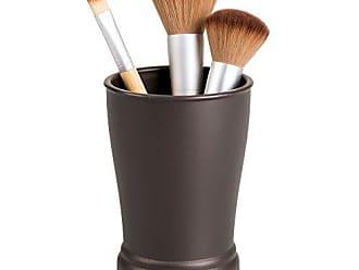 iDesign York Trinkbecher praktischer Becher zur Aufbewahrung aus Keramik und Metall vanille//bronzefarben