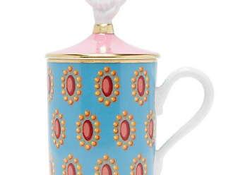 Gucci Broche Print Porcelain Mug - Blue Multi