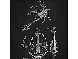 Inked and Screened Vintage Inventions Folding Anchor - F. Joyner - 1894 Print, Chalkboard - White Ink