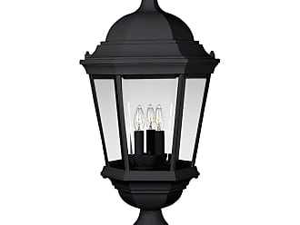 PROGRESS P5483-31 Three-light post lantern in Textured Black finish with clear beveled glass