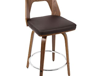 LumiSource Trilogy Mid-Century Modern Counter Stool Brown - CS-TRILO WL+BN