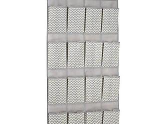 InterDesign 16-Pocket Hanging Shoe Organizer - Chevron Over Door Storage System, Taupe