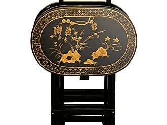 Oriental Furniture Rosewood TV Tray Set - Antique Gold