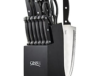 Quikut Ginsu Essential Series 14-Piece Stainless Steel Serrated Knife Set - Cutlery Set with Black Kitchen Knives in a Black Block, 03886DS