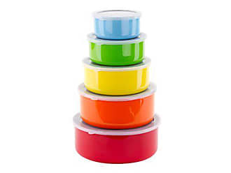 Imperial Home 10 Pcs Colorful Stainless Steel Mixing Bowls or Food Storage Containers Set w/Lids