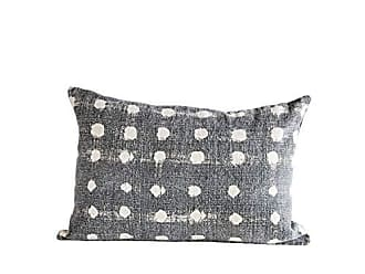 Creative Co-op Charcoal Cotton Slub Pillow with Cream Polka Dots