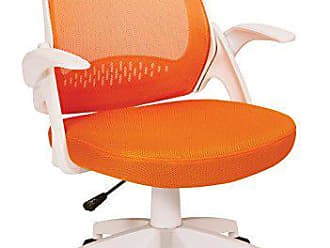 Office Star AVE SIX Jackson Mesh Back and Padded Mesh Seat Office Chair with Folding Arms and White Accents, Orange