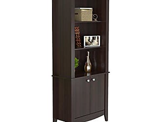 Inval America Inval BE-8004 Espresso Wengue Wood 4 Shelf Bookcase with Covered Storage