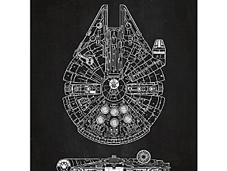 Inked and Screened Sci-Fi and Fantasy Star Wars Millennium Falcon - 1979 Print, Chalkboard - White Ink