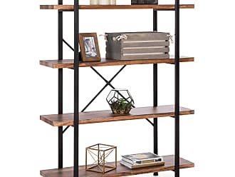 Best Choice Products 4-Shelf Industrial Open Bookshelf Furniture w/ Wood Shelves, Metal Frame