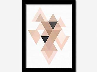 Los Quadros Quadro Decorativo Triângulos Rosa e Preto 33cmx24cm Los Quadros Preto