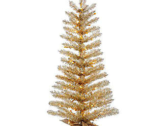 Vickerman B153641 Tinsel Tree with Burlap Base, 100 Lights & 266 Tips, 48 X 22, Clear/Champagne