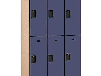 Salsbury Industries 2-Tier Extra Wide Designer Wood Locker with Three Wide Storage Units, 6-Feet High by 18-Inch Deep, Blue