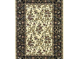 Kas Rugs Cambridge 731 Floral Ribbons Area Rug Ivory / Black - CAM731077X1010