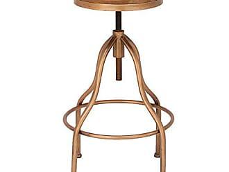 Urban Designs Imported Jones Wooden-Top Adjustable Metal Bar Stool, Copper