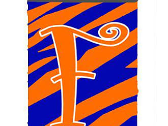Caroline's Treasures Letter F Initial Monogram - Tiger Stripe Blue and Orange Can Beverage Insulator Hugger