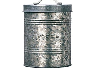 Amici Home Amici Home A7CJ007R Rustic Kitchen Collection Coffee Relief Galvanized Metal Storage Canister, Food Safe, 76 Fluid Ounce Capacity