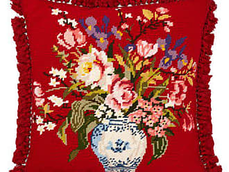 Gucci Flower Embroidered Wool Cushion - Red Multi