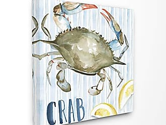Stupell Industries The Stupell Home Décor Collection Striped Seafood Watercolor Summer Blue Crab with Lemons Stretched Canvas Wall Art, 30 x 30, Multi-Color